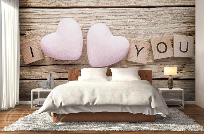 Aus Holz geschnitzte Liebe - für Schlafzimmer - Fototapeten ...