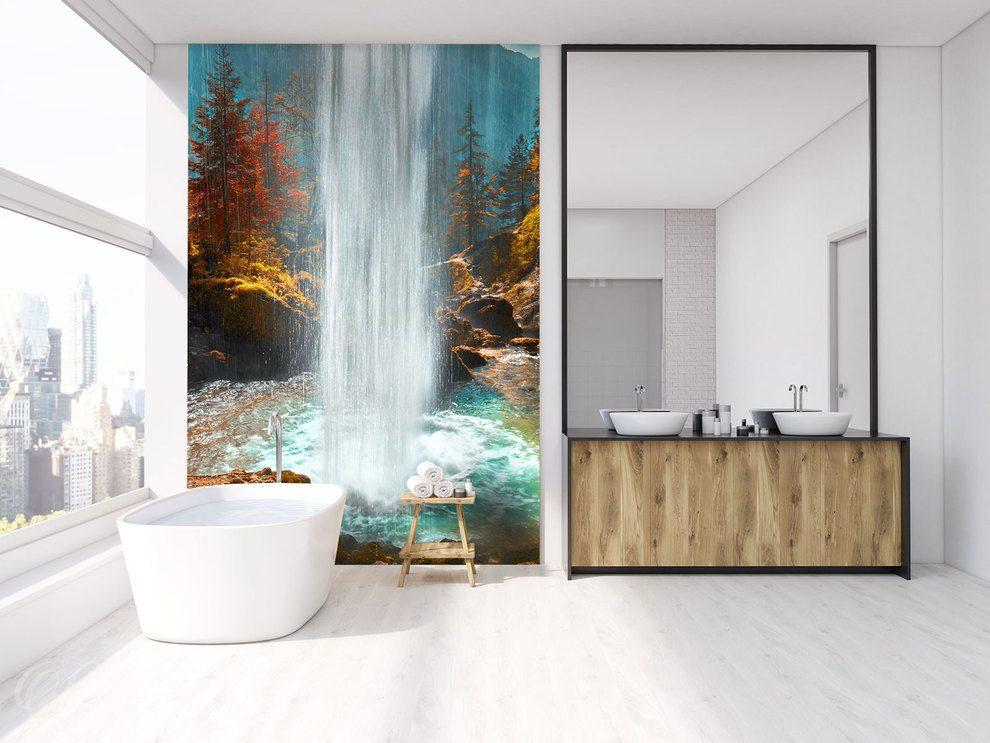 Wasserfall aus großen Gewässern - für Badezimmer - Fototapeten - Demur