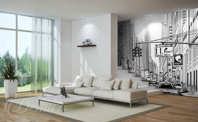 Fototapete wohnzimmer schwarz weiss  Die New York-Konturen - Städt - Fototapeten - Demur